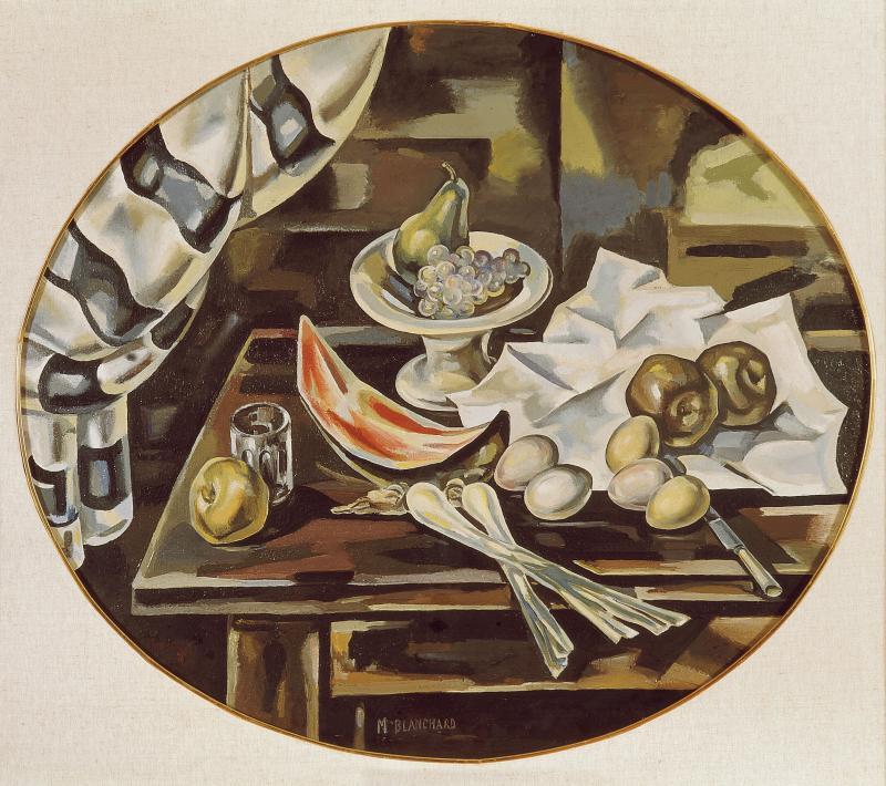María Blanchard. Bodegón oval - Naturaleza muerta con peras, 1925