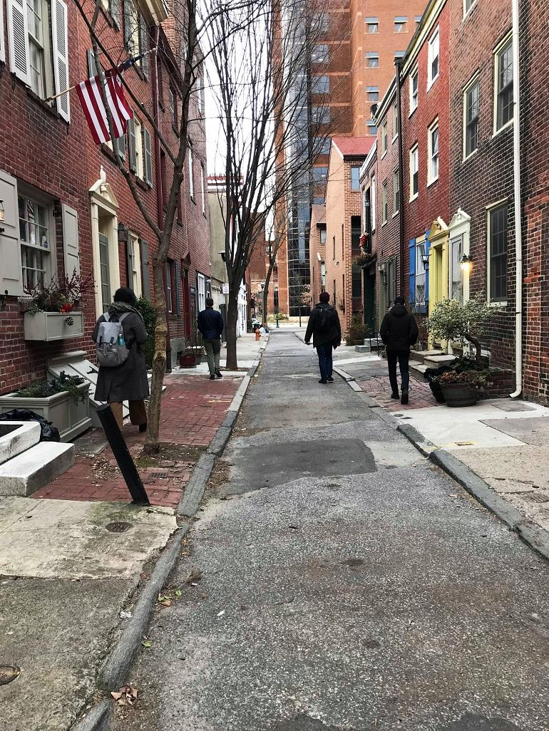 "05: Between 914 Lombard Street and Chinatown (Philadelphia), during Dietz & Wang's March 20th, 2019, ""Listening for Rebecca Jackson,"" Photo: Hong-Kai Wang"