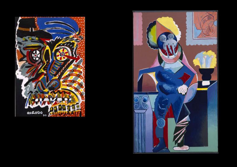 Manuel Quejido. Gauguaau, 1974.  Luis Gordillo. Caballero cubista aux larmes (Cubist Gentleman aux Larmes), 1973