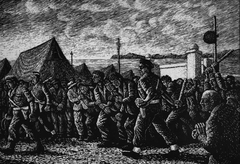 Grabado del ex preso político Giorgos Farsakidis. 'The Road to Cavalry', Makronissos 1949–1950 (Atenas, 1965)