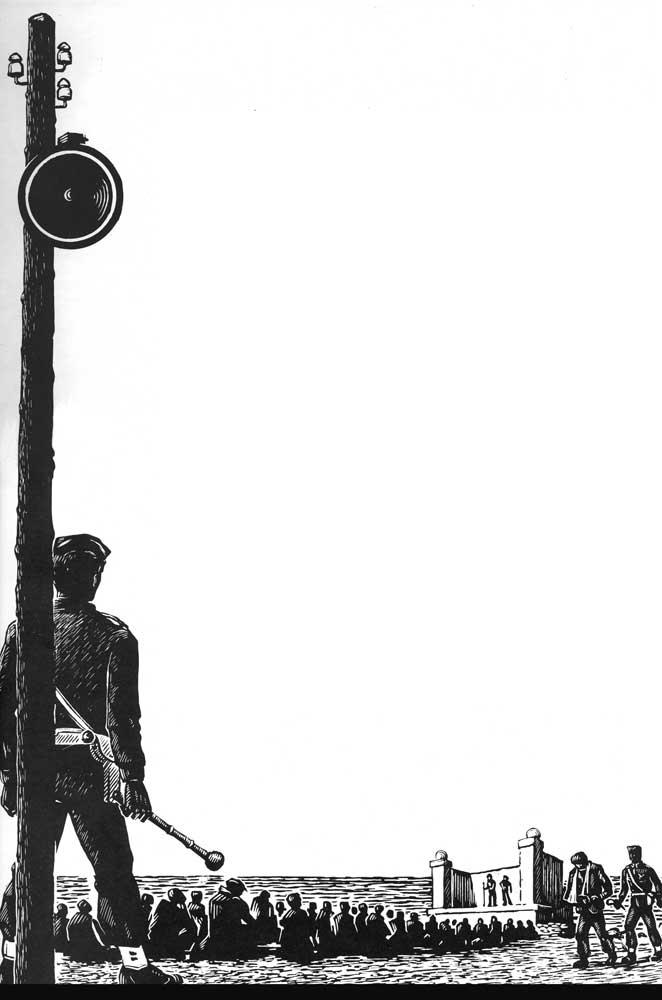 Etching by former political prisoner Giorgos Farsakidis. Loudspeaker detail, Makronissos 1949–1950 (Athens, 1965)