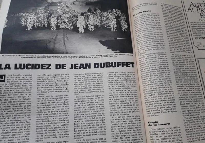 """Artículo en la Revista Triunfo del 22 de diciembre de 1973. """"La lucidez de Dubuffet"""" por Chao, R."""