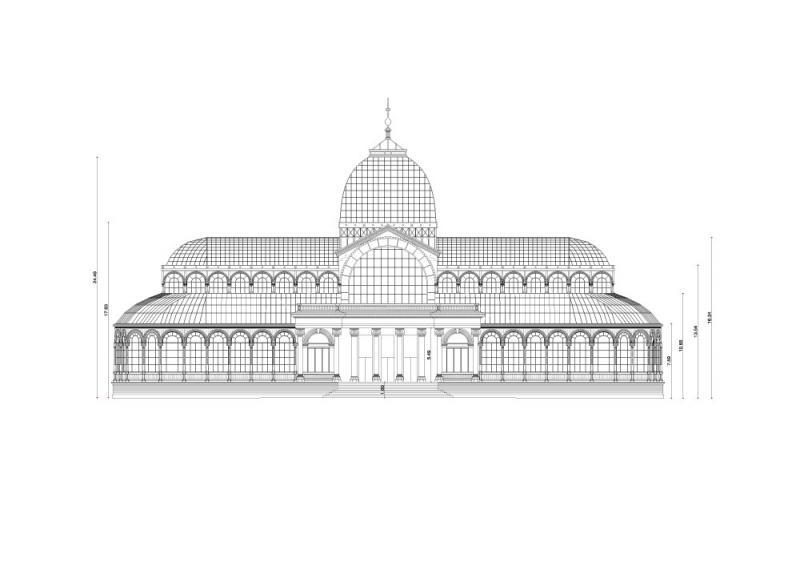 Alzado principal del Palacio de Cristal del Parque del Buen Retiro de Madrid. Museo Reina Sofía