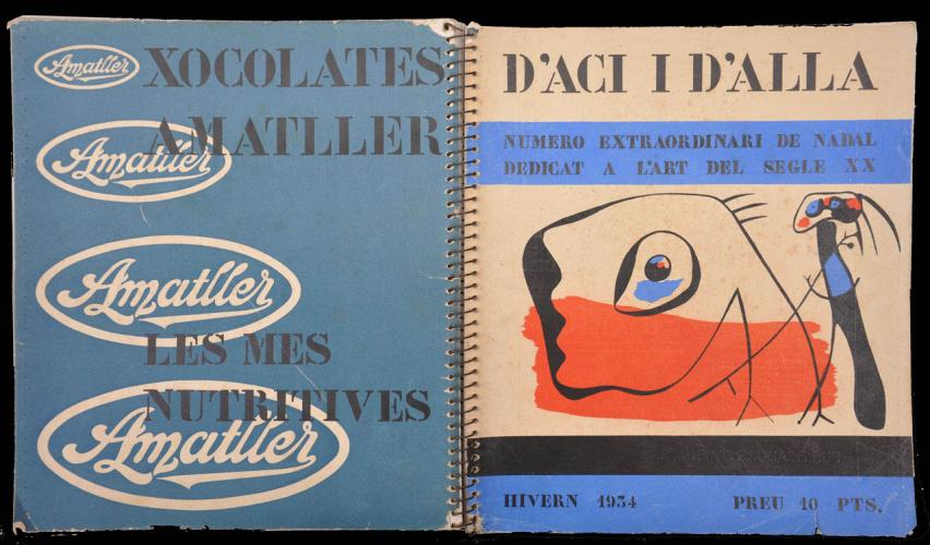 D'ací i d´allà , Magazine front and back cover of special winter edition. Front cover image by  Joan Miró. Barcelona, 1934