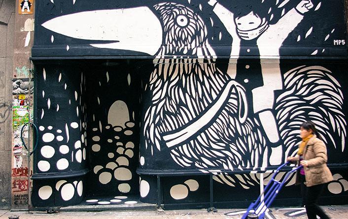 gaelx. Mural en el Patio Maravillas, 2013