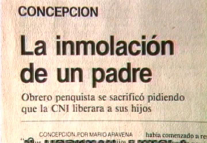 Lotty Rosenfeld. Paz para Sebastián Acevedo. Vídeo, color, sonido, 2'17'', 1985