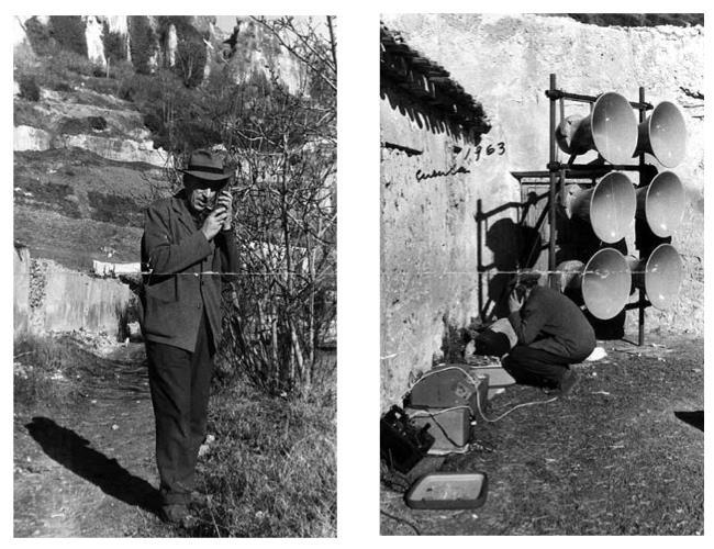 Val del Omar preparando tomas de sonido en Cuenca, en 1963, probablemente para un rodaje de la serie Festivales de España