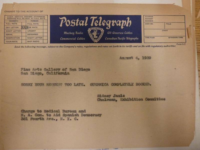 Telegrama de Sidney Janis a la Fine Arts Gallery of San Diego, 4 de agosto de 1939. Rare Book & Manuscript Library, Columbia University in the City of New York