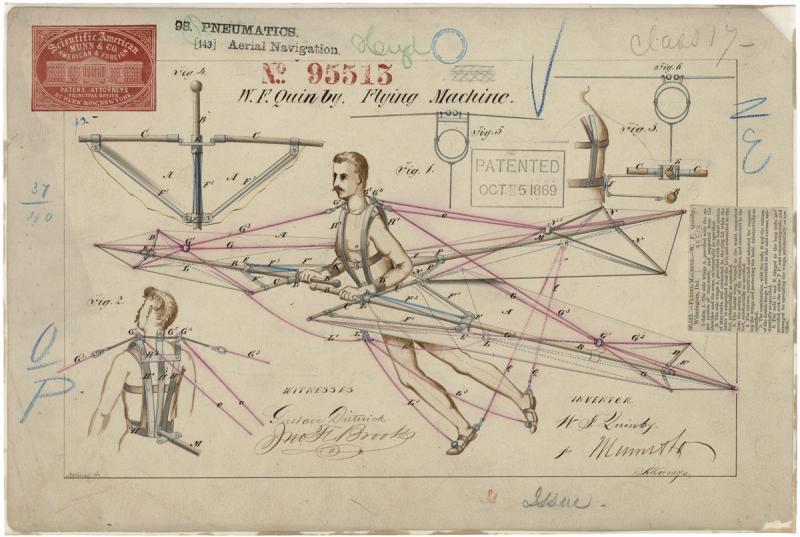 W.F. Quinby. Dibujo de la patente de una máquina voladora © Catálogo de los Archivos Nacionales de EE. UU.