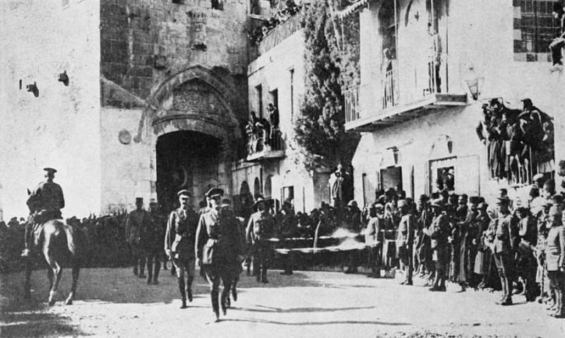 General Sir Edmund Allenby entering the Holy City of Jerusalem on foot 1917 to show respect for the holy place © The Library of Congress