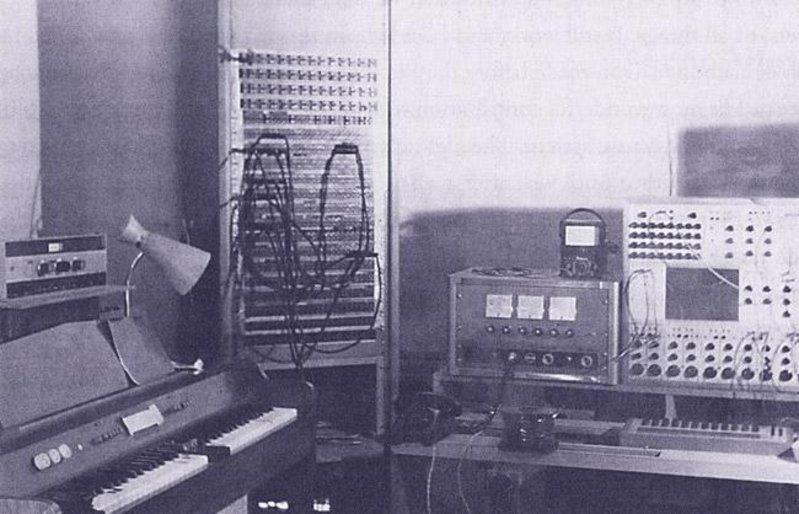 Study of the San Francisco Tape Music Center with the first Buchla system on the right (late 1965, early 1966). From left: Chamberlin Music Master, Patch Bay, auxiliary amps and the Buchla box. Photograph by William Maginnis
