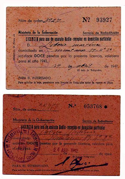 Licencia para uso de aparato de radio-receptor en domicilio particular 1941-1942