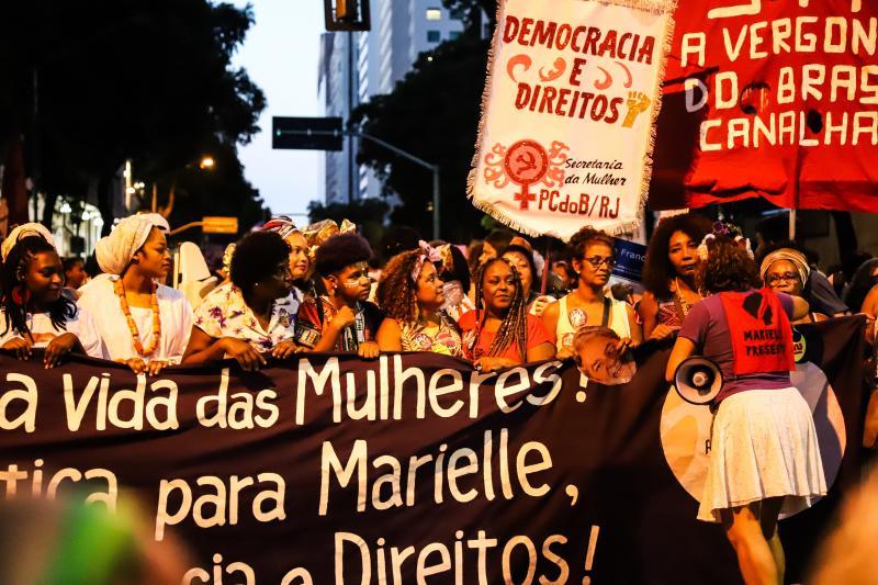 María Magdalena Arrellaga. Activistas y organizaciones por los derechos de las mujeres pidiendo justicia para Marielle Franco. Río de Janeiro, 2019
