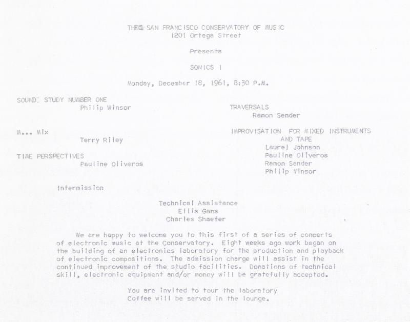 Programa de Sonics. 18 de diciembre de 1961