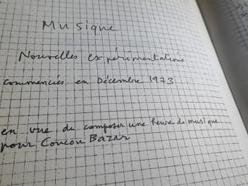 Extracto del facsímil de las notas de Jean Dubuffet para la música de la pintura animada Coucou Bazar, tomadas en diciembre de 1973, después de la dos primeras presentaciones del espectáculo en Nueva York (Museo Guggenheim, abril 1973) y en Paris (Grand Palais, septiembre 1973). La nueva versión se estrenó en Turin en junio de 1978
