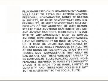 Maciunas. FluxManifesto para el grupo Fluxus, 1965