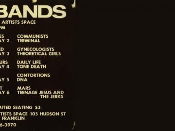 Cartel: Artists Space, del libro de COLEY, B., MOORE, T., No Wave. Post-punk. Underground. New York. 1976-1980. Nueva York, Abrams Image, 2008