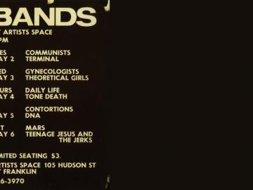 Poster: Artists Space [Also in the book COLEY, B., MOORE, T., No Wave. Post-punk. Underground. New York. 1976-1980. New York, Abrams Image, 2008]