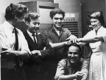Group photo. San Francisco Tape Music Center. From left to right: Tony Martin, William Maginnis, Ramón Sender, Morton Subtonick and Pauline Oliveros