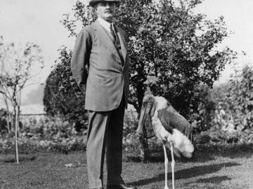 Lord Allenby and his pet Marabou Stork in Cairo (date unknown)