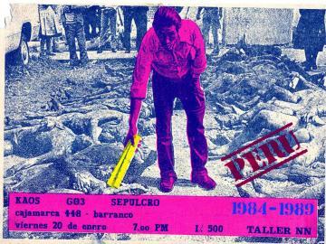 Taller NN. Cartel del concierto de la banda Kaos, 1989. Cortesía Archivo Alfredo Márquez.