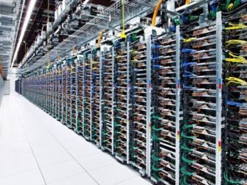A Google server farm used to store Big Data. Photograph, 2016